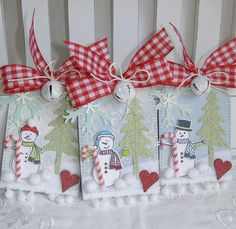 HOLD FOR RENEE Shabby Chic Snowman Candy Cane by PaperBistro