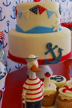 Nautical Birthday Party cake! See more party ideas at CatchMyParty.com! Nautical Cake, Nautical Party, Sailor Party, Childrens Holidays, Cupcakes Decorados, Boy Birthday Parties, Baby Party, Party Cakes, Cupcake Cakes