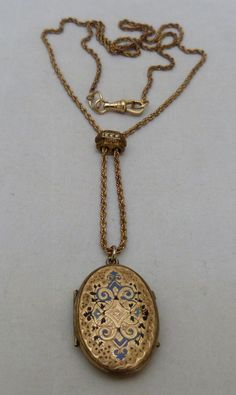 ANTIQUE VINTAGE VICTORIAN GOLD FILLED ENAMEL LOCKET WATCH FOB CHAIN NECKLACE