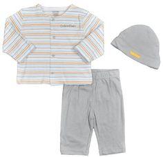 Calvin Klein Newborn Boys Stripe Gray W/Hat 3Pc Layette Pant Set (0/3M) Calvin Klein. $15.00