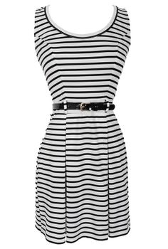Earn Your Stripes Belted Black and White Dress
