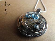 Swarovski Crystal Steampunk collier Aquamarine - Bijoux Steampunk par Steamretro