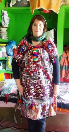 Keryn James in a tribal embroidered shirt in village Tooh, Tharparkar, Pakistan.