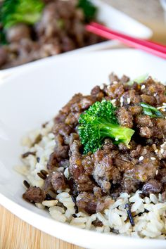 Sweet, Crispy Orange Beef with Broccoli and Brown and Wild Rice