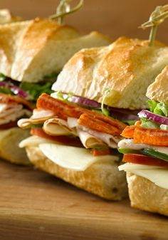 Italian Turkey Hoagie -- In just 10 minutes, this tasty sandwich recipe--made with oven-roasted turkey, pepperoni, and Provolone cheese--is ready to serve.