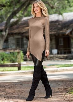 Tan Asymmetrical top with faux leather legging from VENUS. Top in sizes XS-XL, bottom in sizes 2-16!