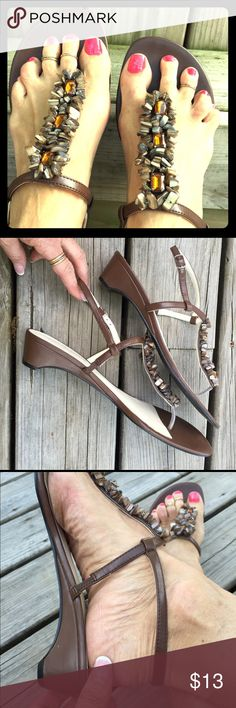 COMFY/DRESSY LOW HEEL BELLINI SANDALS Side buckle strappy with stones and gem-rhinestone embellishments. Practically like new condition! Vegan materials. Short, dressy wedge heel.  Bellini Shoes Sandals