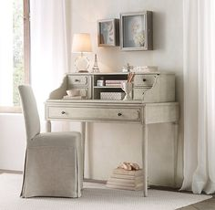 Marcelle Writing Desk & Hutch Teen Girl Desk, Teen Girl Rooms, Kid Desk, Teen Bedroom, Bedroom Ideas, Antique Desk, Antique Pewter, How To Antique Wood, Wood Shadow Box