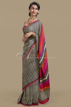 3fcc4d7aa0 Crepe silk saree in beige & black Crepe Silk Sarees, Silk Sarees Online,