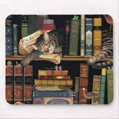 Shop mouse pad w/ a cat sleeping in library books created by Pawbaby. Library Cafe, Library Books, Eclectic Books, Custom Made Gift, Gifts For Bookworms, Book Wall, Dragon Rider, Unusual Art, Cat Sleeping