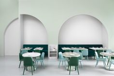 Photo 3 of 10 in This Wes Anderson-Inspired Cafe in China Is Majorly Instagrammable - Dwell #cafe #china #dining #mint