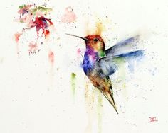 Colibrí y flor imprimir acuarela arte Colibrí por Dean