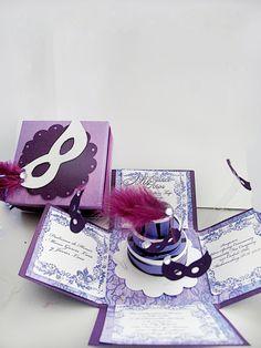 Explosion Box Ideas | masquerade invitations exploding box quinceaneras