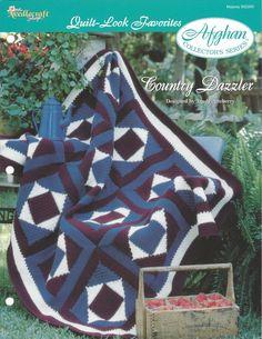 👴🏼 👵🏻 Crochê da Edredão da Herança Afegão Padrão itens decorativos Criações -  /  👴🏼 👵🏻 Crochet Quilt Block Heirloom Afghan Pattern Knacks Creations -