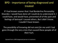BPD - importance of being diagnosed and treated Mental Health Illnesses, Mental Health Disorders, Mental Health Quotes, Mental Illness, Bpd Quotes, Qoutes, Borderline Personality Disorder Quotes, Bpd Symptoms, How To Handle Depression