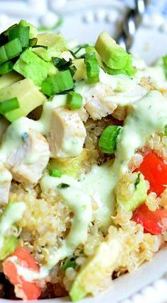 Avocado Ranch Chicken Quinoa Bowl