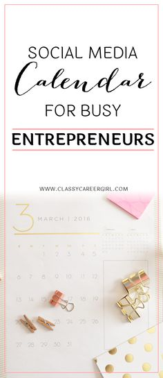 Social Media Calendar for Busy Entrepreneurs  This social media calendar below is the collection of posts that I continue to share on social media for the Classy Career Girl brand again and again with the same great results. Join me and complete the social media one month challenge! You can totally do it!  Read more: http://www.classycareergirl.com/2016/07/social-media-calendar-entrepreneurs/