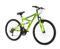 """26"""" Huffy Men's Rock Creek Mountain Bike, Green: The lightweight aluminum frame means you can ride harder for longer, and front and rear suspension gives you a smooth ride on any surface. With 21 speeds, a comfortable Shimano twist shifter, and Shimano rear derailleur, you'll have no problems"""