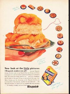 """1953 BISQUICK vintage magazine advertisement """"little pictures"""" -- Now - look at the little pictures (Bisquick makes 'em all) -- Size: The dimensions of the full-page advertisement are approximately 8.25 inches x 11 inches (21 cm x 28 cm). Condition: This original vintage full-page advertisement is in Excellent Condition unless otherwise noted."""