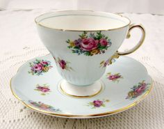 Blue Foley Tea Cup and Saucer with Floral Bouquets, Vintage Bone China