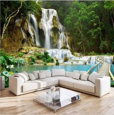 Waterfall Landscape Non-woven TV Background Photo Wallpaper Living Room Bedroom Custom Wall Mural Wall Covering Papel Pintado 3d Wallpaper For Walls, Cheap Wallpaper, Photo Wallpaper, 3d Wallpaper Kitchen, Green Wallpaper, Wallpaper Wallpapers, Custom Wallpaper, Custom Wall Murals, 3d Wall Murals