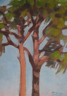 High Up is an original, plein air oil painting of pine trees. It is an unframed oil on panel, size 7 in. x 5 in. This painting will fit into a standard 5x7 frame.  FOR AFFORDABLE, GICLEE PRINTS ON CANVAS OR PAPER, VISIT MY FINE ART AMERICA WEBSITE AT http://sharon-guy.artistwebsites.com.  My mission is to create art that is vibrant, serene, and inspiring.  MONEY BACK GUARANTEE: Money back refunds are available if you are not satisfied with your purchase in any way. Buyer must ship m...
