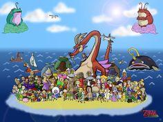 The Wind Waker complete family art Shigeru Miyamoto, Hyrule Warriors, Japanese Games, Nerd Herd, Wind Waker, Twilight Princess, High Fantasy, Warrior Princess, Breath Of The Wild