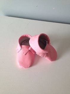 Pink Baby Moccasins, genuine leather, size 6-12 months ready to ship  on Etsy, $28.00