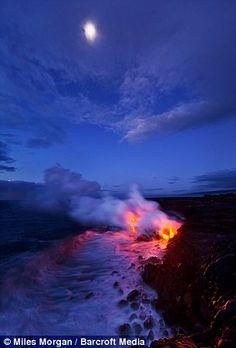 ríos de lava del volcán Kilauea en Hawaii