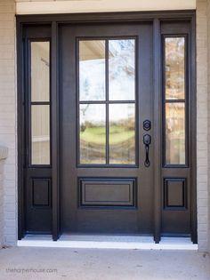 Exterior Door Hardware, Front Door Hardware, Modern Exterior Doors, Front Door Handles, Farmhouse Interior Doors, Interior Door Knobs, Modern Farmhouse Interiors, Farmhouse Door, Interior Paint