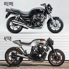 Another great example of a Honda CB morphing into a real beauty! Honda Nighthawk, Honda Cb750, Motos Honda, Yamaha R1, Ducati, Cafe Racer Honda, Cafe Racer Bikes, Cafe Racer Moderne, Modern Cafe Racer