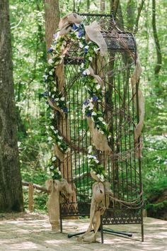 rustic arbor with garland and burlap