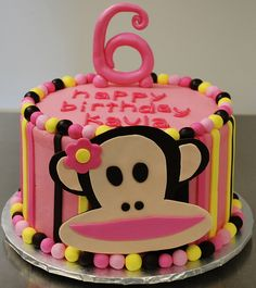 We love this tropical pink Paul Frank Cake!