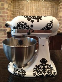 Would love these decals in white for my black mixer! Kitchen+Mixer+Vinyl+DecalsDamask+by+thewordnerdstudio+on+Etsy,+$18.50
