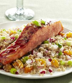This inventive take on roasted salmon calls for covering the fish in a fruity pomegranate glaze. Served with bulgur and seasonal fruits and vegetables, this meal is healthy without skimping on flavor or flair.