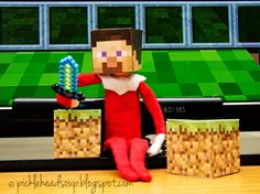 Elf on the Shelf has gotten into the Minecraft Game.  I don't  quite get it, but the children love to play it.....December 2013