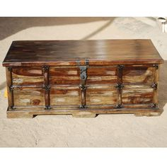Unique Steamer Style Storage Trunk Coffee Table Chest w Wrought Iron Hardware