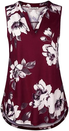 Enjoy exclusive for SeSe Code Women's Sleeveless V Neck Tunic Blouses Floral Flowy Casual Tank Tops online - Topusbestsellers Pretty Outfits, Cute Outfits, Cute Fashion, Fashion Outfits, Blouse And Skirt, Plus Size Blouses, Work Attire, Plus Size Fashion, Ideias Fashion