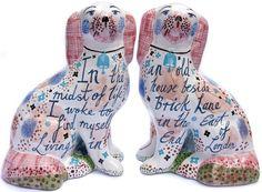 The Dogs of Spitalfields Life - Rob Ryan Rob Ryan, Staffordshire Dog, Brick Lane, Barbie Dream, Clay Animals, Old London, Pottery Art, Ceramic Pottery, Just For Fun