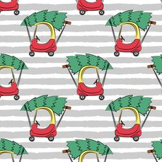 Gray Stripe Fabric - Kids Car With Christmas Tree On Gray Stripes By Littlearrowdesign - Gray Cotton Fabric By The Metre by Spoonflower Double Gauze Fabric, Cotton Twill Fabric, Fleece Fabric, Cotton Canvas, Striped Fabrics, Spoonflower Fabric, Reusable Bags, Burp Cloths, Childcare