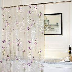 Mooxury Mildew Resistant Shower Curtain Liner With Hooks For BathroomPurple Flower Butterfly EVA Bathroom Curtains Water Proof Antibacterial