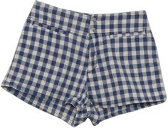 90's Guess Made in USA Shorts: 90s -Guess Made in USA- Womens blue and white gingham print cotton super short wicked 90s shorts with double snap/zip front closure, two front inset pockets and flat hem. Looks like its time for a picnic lunch on your lap.