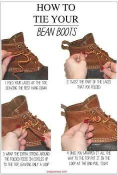 Learn how to tie your bean boots like the pros. | Here's How To Tie Anything And…