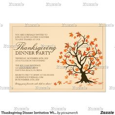 Thanksgiving Dinner Invitation With Fall Tree Thanksgiving Dinner Invitation featuring an fall tree with falling leaves. ❤  Affiliate ad link. Christmas greeting / holiday invitation / custom invites & products #christmas #holiday #invitations