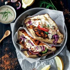 For weve got you covered with a fabulous selection of Vegan books! Doesnt this Aubergine Gyros look. For weve got you covered with a fabulous selection of Vegan books! Doesnt this Aubergine Gyros look delicious Taken from: Vegan BBQ Good Healthy Recipes, Veggie Recipes, Vegetarian Recipes, Savoury Recipes, Vegan Books, Good Food, Yummy Food, Yummy Yummy, Vegan Dishes