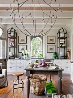 Table in foreground...nice color and finish - I like this with the white cabinets and hardwood floor cabinets, kitchens, light fixtures, chandeliers, kitchen design, hous, shelv, ikea, island