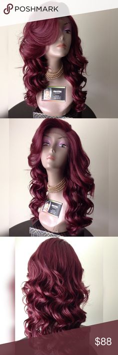 """👑Swiss lace front wig Gorgeous plum """"BLEND"""" swiss lace front wig approx. 18 - 20 inches takes heat up to 400 but I recommend 350 no  tangling no matting brand new  🎁I DO NOT TRADE AT ALL #NEVER 🎁NOT ACCEPTING OFFERS 🎁NO HOLDS 🎁PRICE IS FIRM 👑ACTUAL PHOTOS OF MY PRODUCT & MY WORK NO SCREENSHOTS NO STOCK PHOTOS  📣I DO NOT TRADE📣  💌SHIPPING POLICY :SAME DAY SHIPPING IF PURCHASED BEFORE 12PM MONDAY   SATURDAY . DELIVERY TIME :2-3 BUSINESS DAYS Accessories Hair Accessories"""
