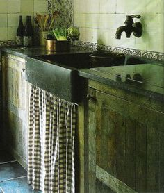 I like this rustic look...Maybe for the laundry room or a small apartment.