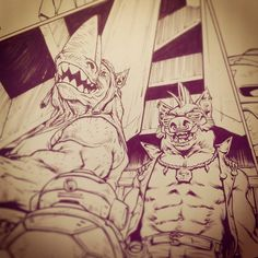 R&B #TMNT #comics #IDW #inks #Rocksteady #Bebop #metalhead #santolouco