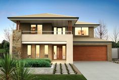 25 Minimalist Home Design For Small Family Inspiration with large garage and small garden Bungalow House Design, Small House Design, Modern House Design, Clarendon Homes, Double Storey House, Architecture Design, Design Living Room, Bar Design, Minimalist House Design